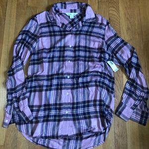 Old Navy Button Down Flannel Pink Black Size M